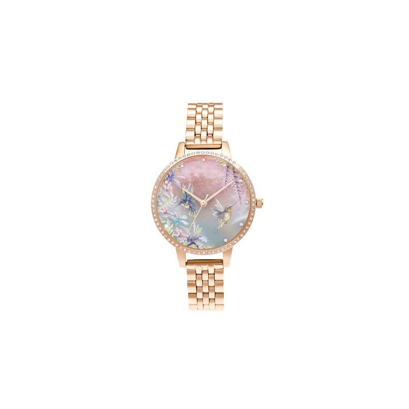 Olivia Burton Sparkle Hummingbird Rose Gold Bracelet Watch