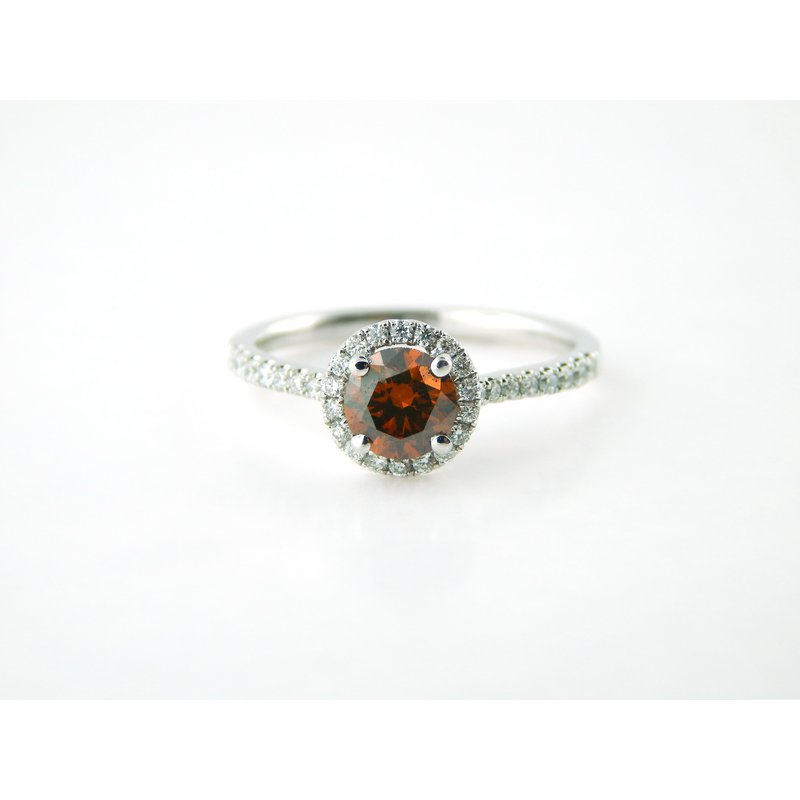 Red Brown Treated Diamond Ring