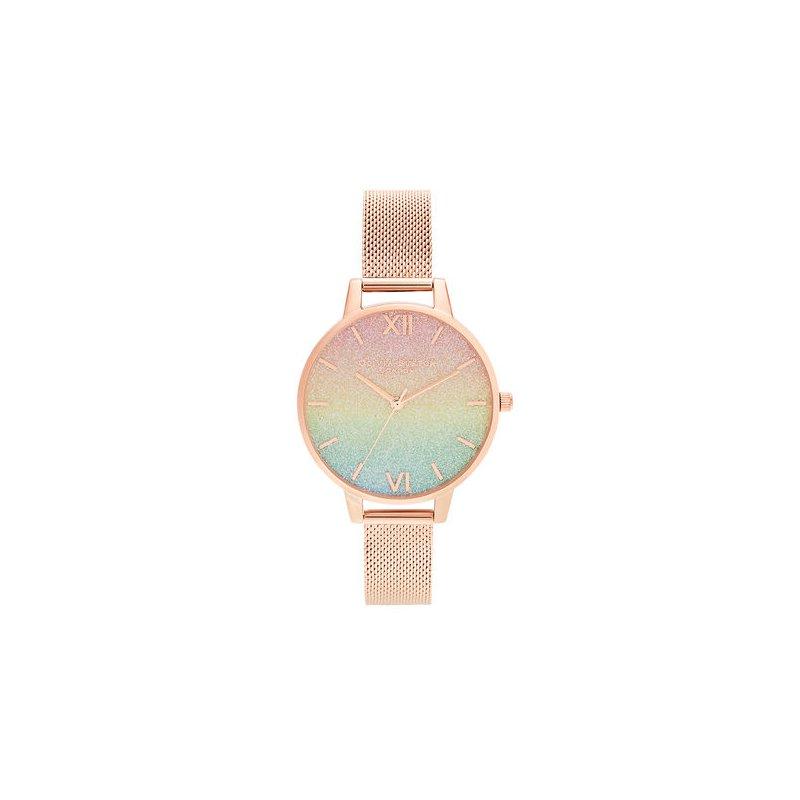 Olivia Burton Rainbow Glitter Dial & Rose Gold Mesh