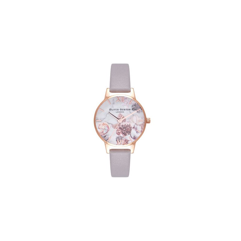 Olivia Burton Marble Floral Lilac & Rose Gold Watch