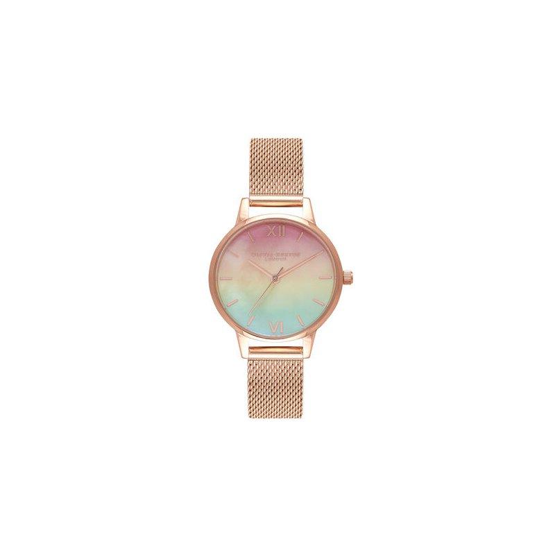 Olivia Burton Midi Rainbow Pearl Dial Rose Gold Mesh Watch