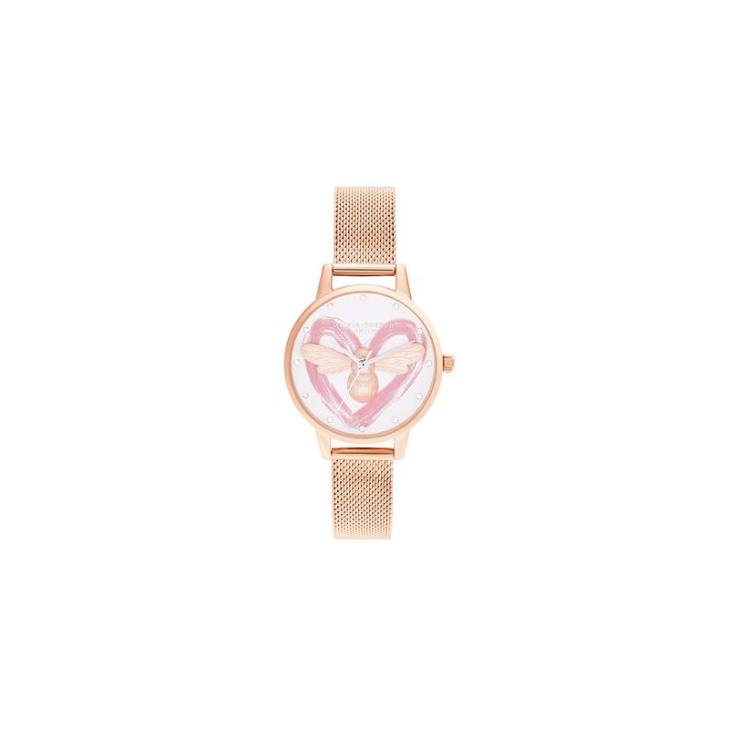 Olivia Burton You Have My Heart Lucky Bee, Silver & Rose Gold Mesh