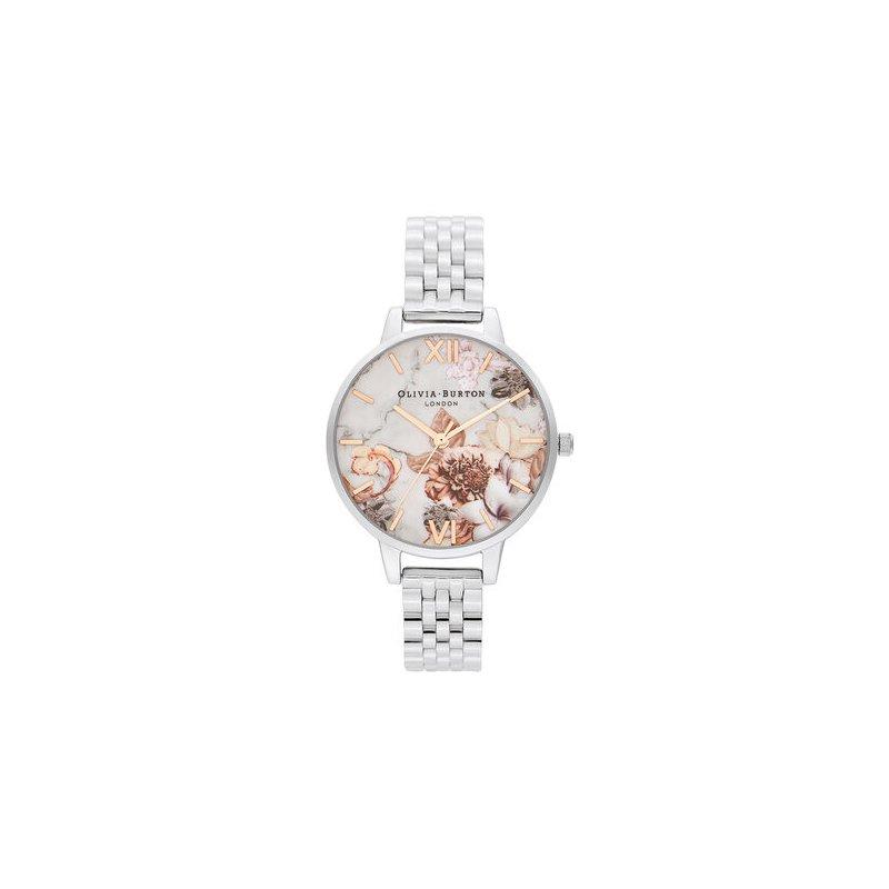 Olivia Burton Marble Floral Silver Watch