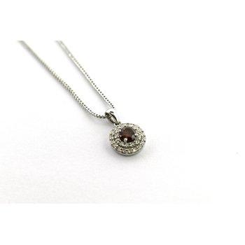 Red diamond and Diamond pendant