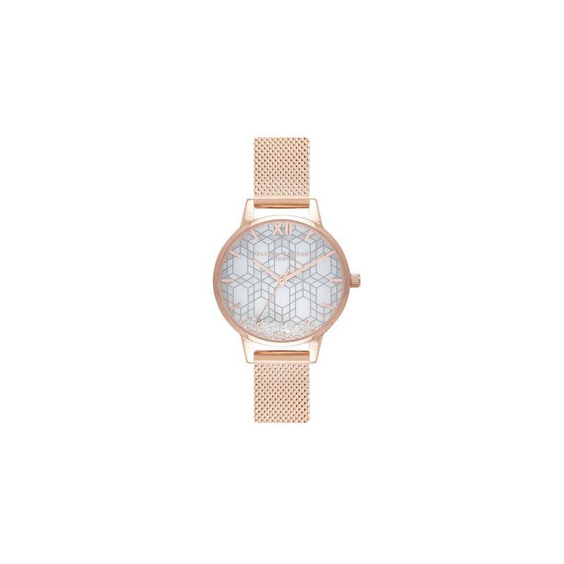 Olivia Burton Snow Globe Dial & Rose Gold Mesh Watch