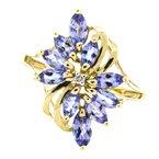Estate Jewelry 14K Gold Marquise Tanzanite Diamond Floral Vintage Ring