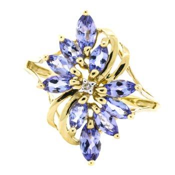 14K Gold Marquise Tanzanite Diamond Floral Vintage Ring