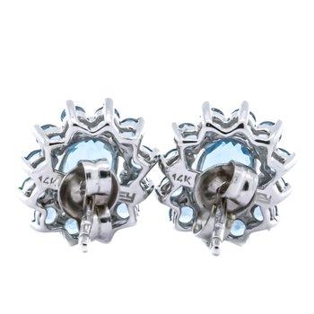 14K White Gold Oval Blue Topaz Center with Starburst Halo Earrings