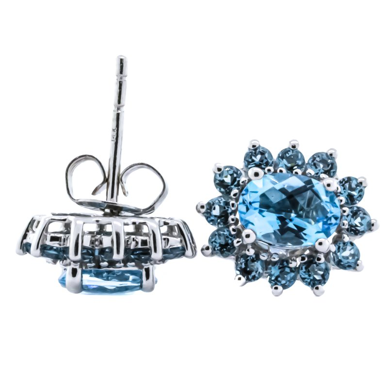 Iroff and Son Jewelers  14K White Gold Oval Blue Topaz Center with Starburst Halo Earrings