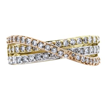 14K Tri-Color Gold Diamond Three Row Crossover Ring
