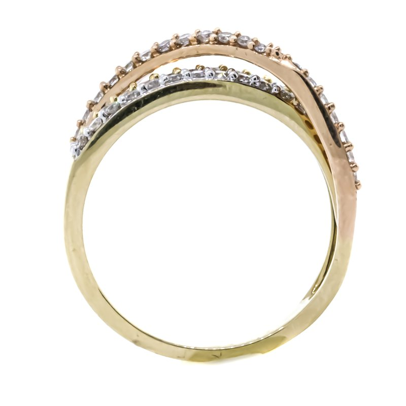 Iroff and Son Jewelers  14K Tri-Color Gold Diamond Three Row Crossover Ring