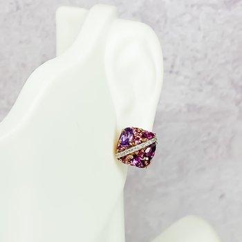 10K Rose Gold Cushion Button Multi-Gemstone Stud Earrings