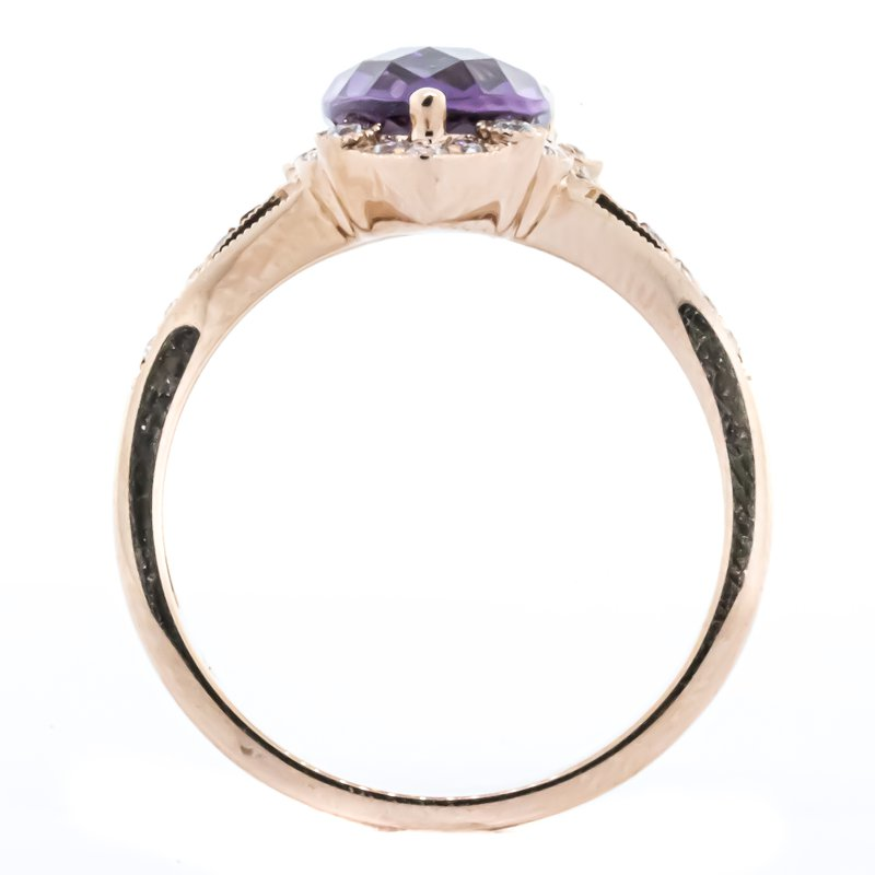 Iroff and Son Jewelers  14K Rose Gold Amethyst Pear Center Antique Diamond Accent Ring SZ 7