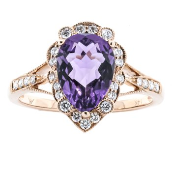 14K Rose Gold Amethyst Pear Center Antique Diamond Accent Ring SZ 7
