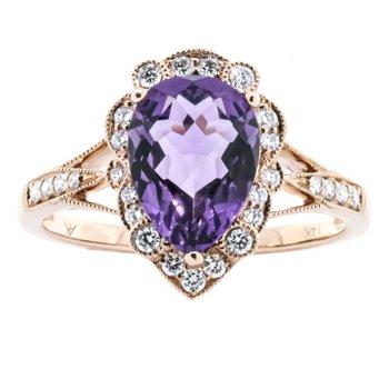 14K Rose Gold Amethyst Pear Center Antique Diamond Accent Ring SZ 7
