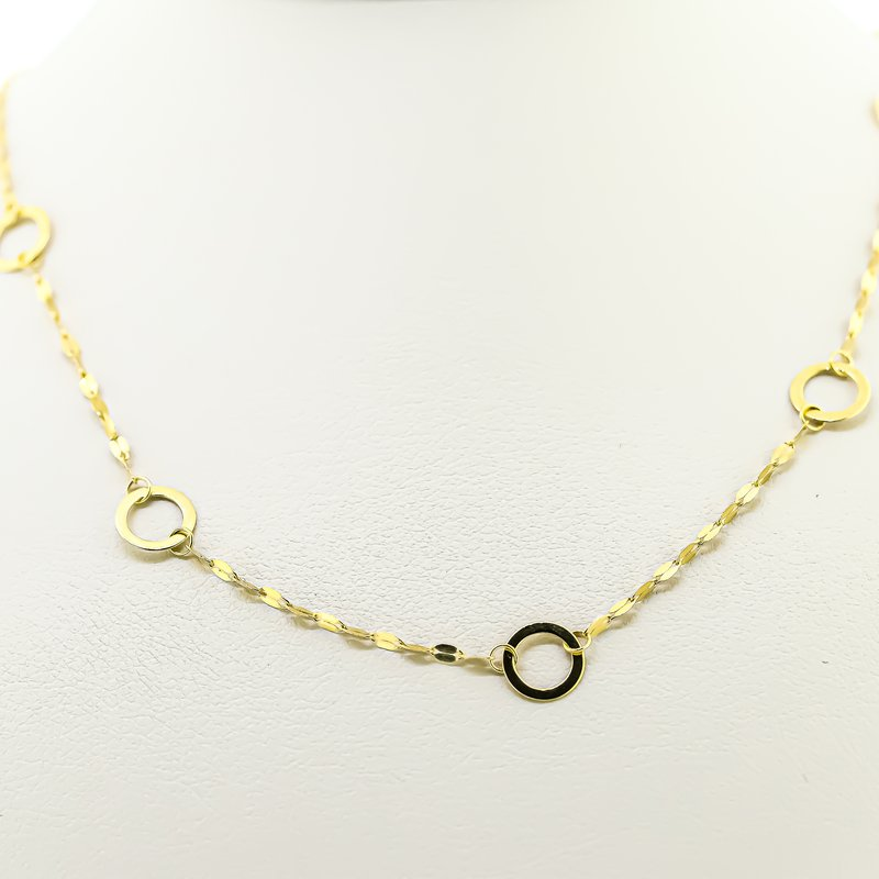 Iroff and Son Jewelers  14K Yellow Gold Adjustable Circle Station Chain Up To 18""