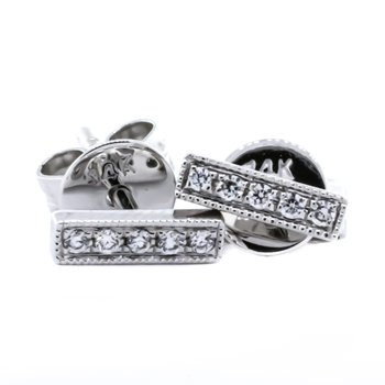 14K White Gold Diamond Staple Stud Earrings