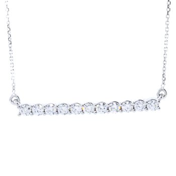 14K White Gold 1.00CTW Diamond Bar Necklace