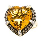 Estate Jewelry 14K Two Tone Gold Citrine Heart and Champagne Diamond Accent Ring