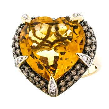 14K Two Tone Gold Citrine Heart and Champagne Diamond Accent Ring