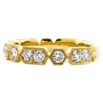 18K Gold Hex and Rectangular Diamond Ring