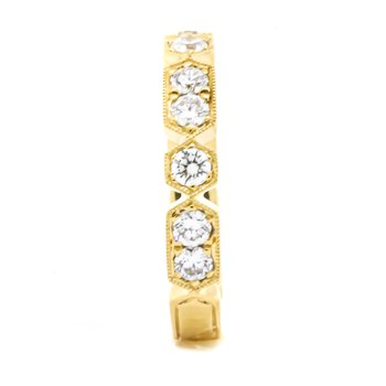 18K Gold Hex and Rectangular Diamond Ring