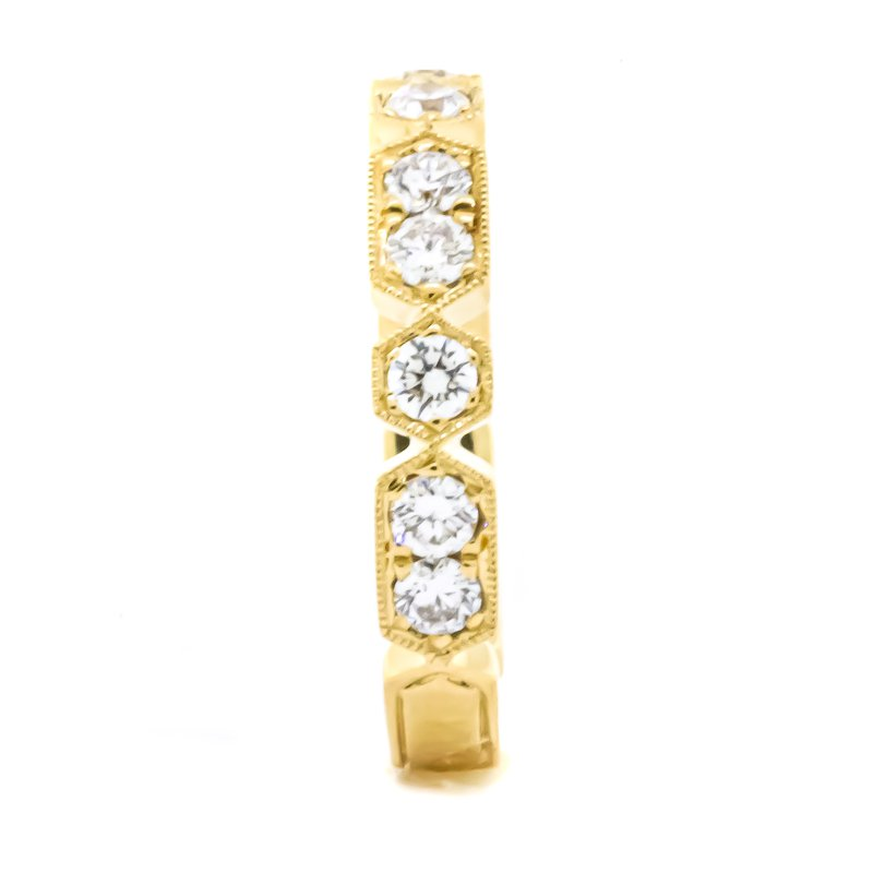 Iroff and Son Jewelers  18K Gold Hex and Rectangular Diamond Ring