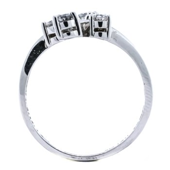14K White Gold Bypass Three Row Diamond Fashion Ring SZ 7