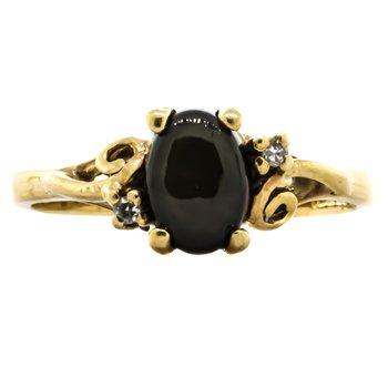 10K Gold Black Star Sapphire Diamond Midi Pinky Ring