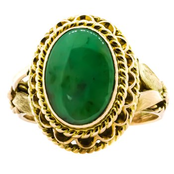 14K Gold Oval Jade Signet Style Ring