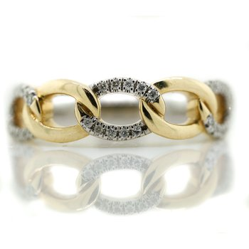 14K Two Tone Gold Curb Link Diamond Fashion Band SZ 6.5