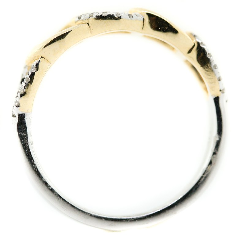 Iroff and Son Jewelers  14K Two Tone Gold Curb Link Diamond Fashion Band SZ 6.5