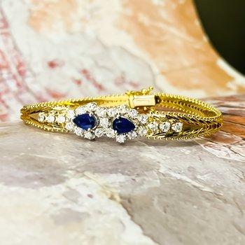 14K Gold Italy Sapphire Diamond Accents Braided Buckle Bracelet