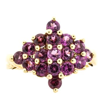 10K Gold Pink Tourmaline Cluster Statement Ring