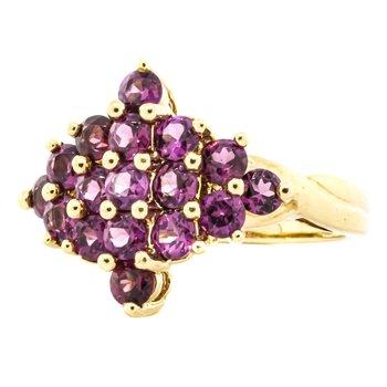 10K Gold Pink Tourmaline Cluster Statement Ring