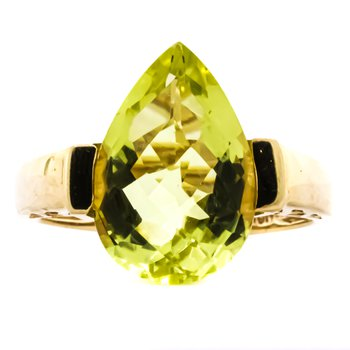10K Gold AFJC Channel Set Pear Peridot Ring