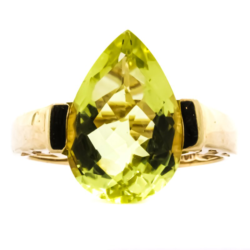 Estate Jewelry 10K Gold AFJC Channel Set Pear Peridot Ring