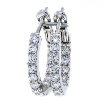 14K White Gold Inside Outside Huggie Hoop Earrings