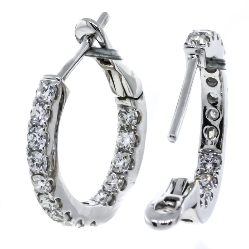 Iroff and Son Jewelers  14K White Gold Inside Outside Huggie Hoop Earrings