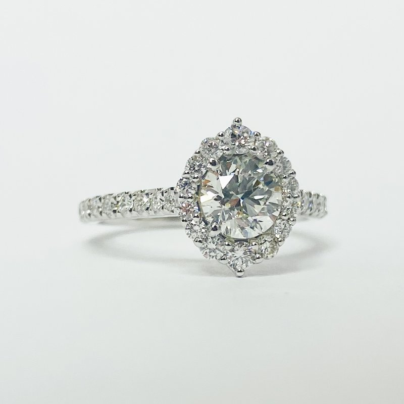 Iroff and Son Jewelers  14K White Gold Oval Halo GIA Diamond Engagement Ring