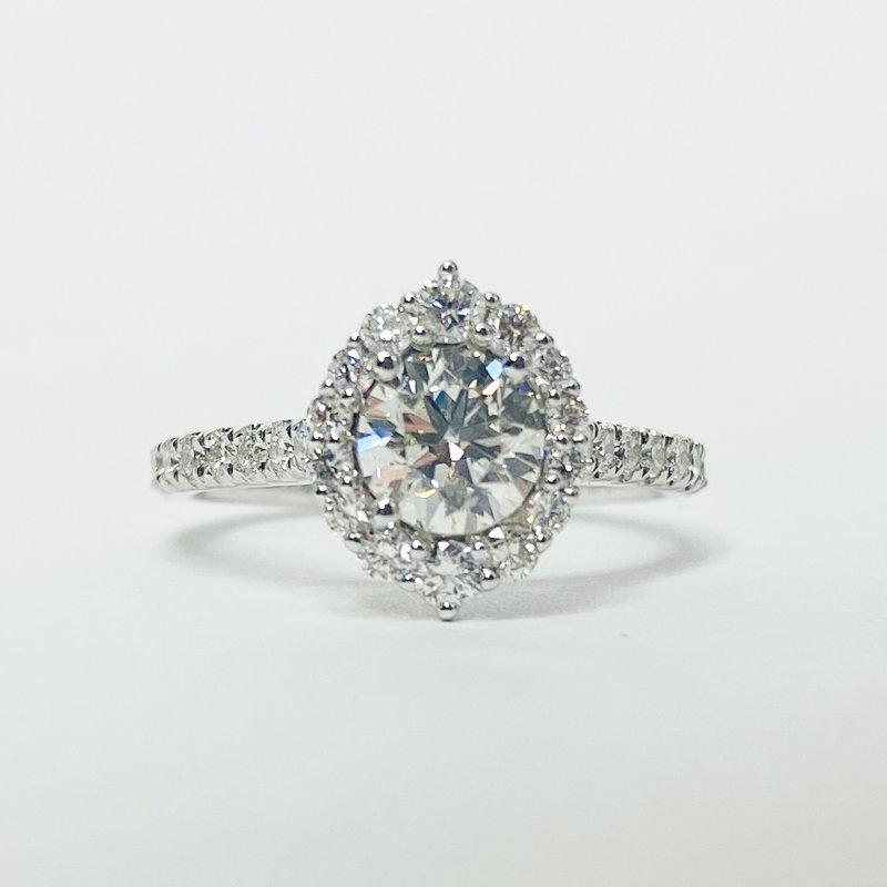 14K White Gold Oval Halo GIA Diamond Engagement Ring