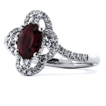 Platinum Oval Ruby Floral Diamond Halo Bypass Band Ring SZ 6.5