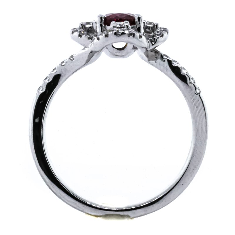 Iroff and Son Jewelers  Platinum Oval Ruby Floral Diamond Halo Bypass Band Ring SZ 6.5