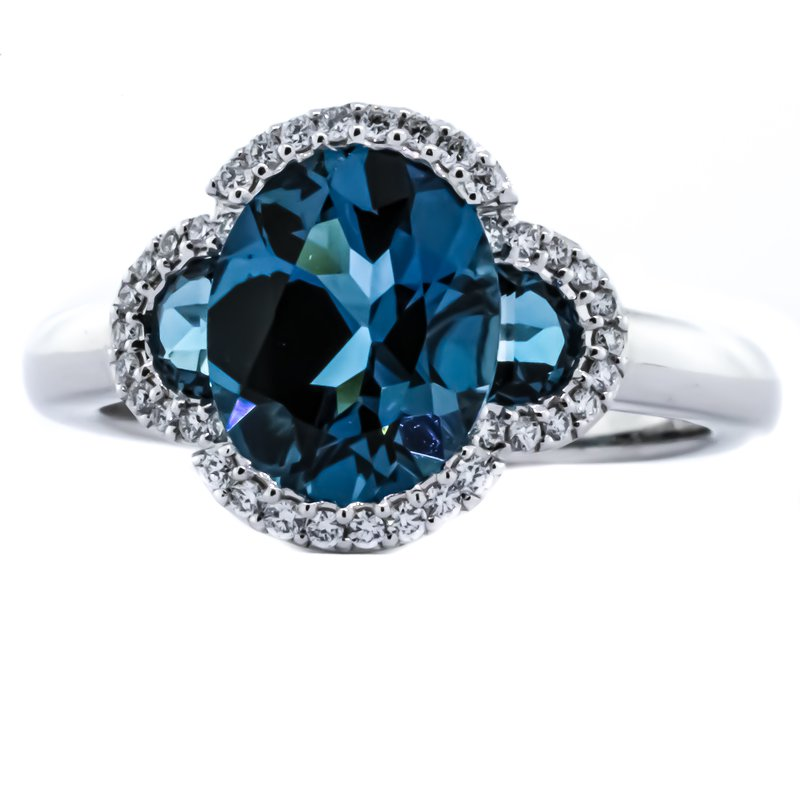 Iroff and Son Jewelers  14K White Gold Three Stone London Blue Topaz Clover With Diamond Halo Ring SZ 7