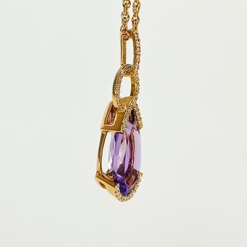 """14K Rose Gold 18"""" Amethyst Pear Trip Bail Drop Necklace 2.44CT"""