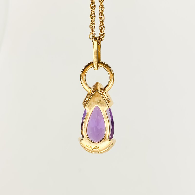 """Iroff and Son Jewelers  14K Rose Gold 18"""" Amethyst Pear Trip Bail Drop Necklace 2.44CT"""