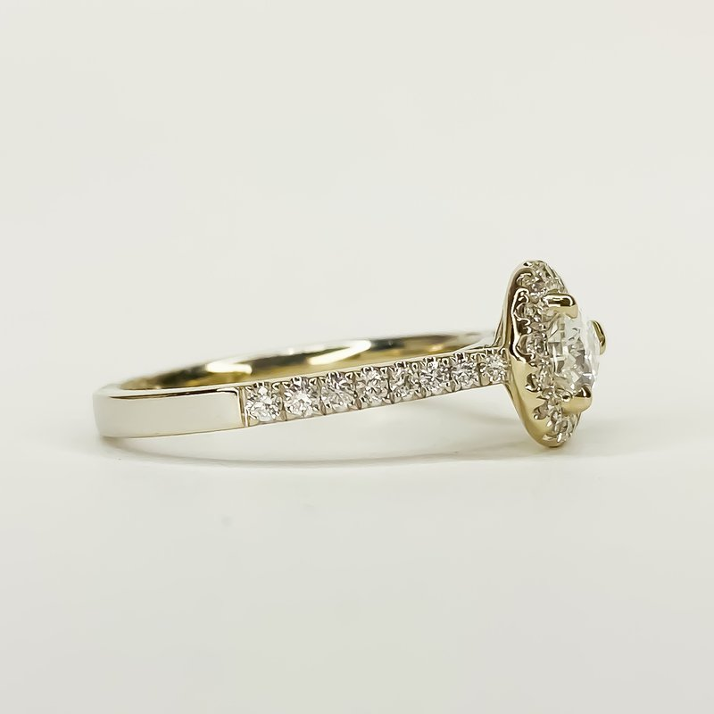 Iroff and Son Jewelers  14K White Gold East West Pear Halo Diamond Engagement Ring Size 6