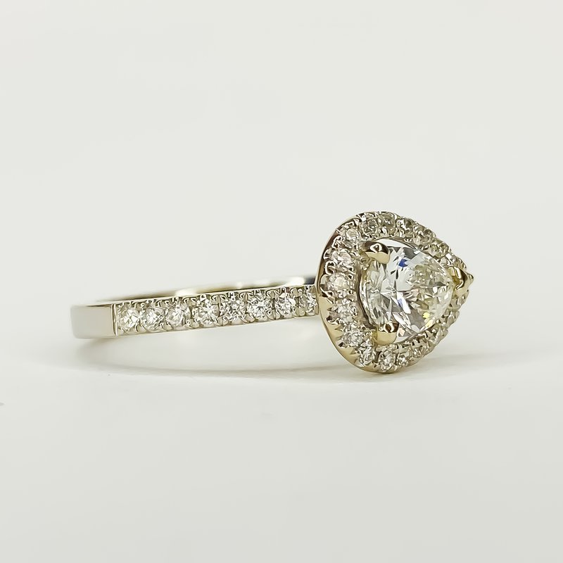14K White Gold East West Pear Halo Diamond Engagement Ring Size 6