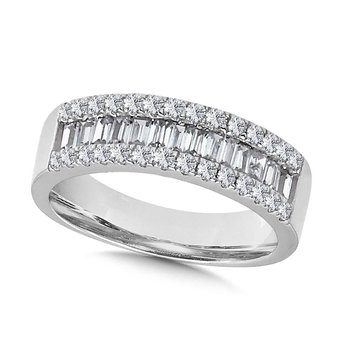 14K White Gold 3 Row Round and Baguette Diamond Band