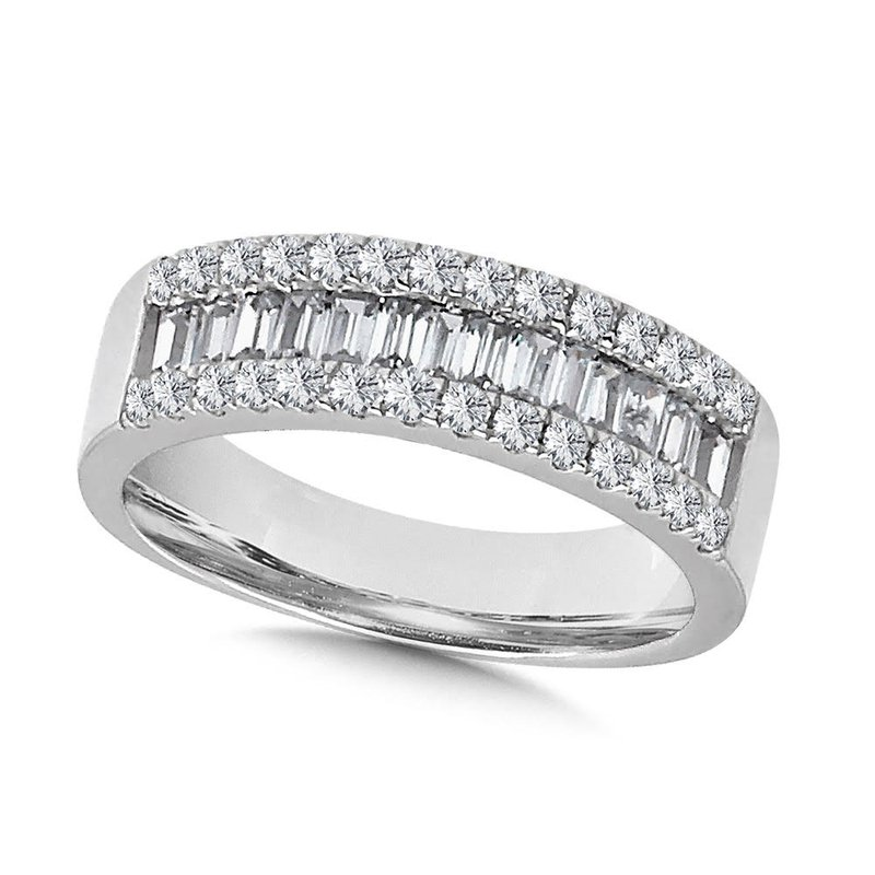 Iroff and Son Jewelers  14K White Gold 3 Row Round and Baguette Diamond Band